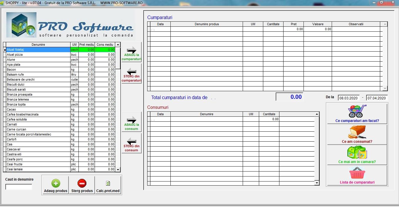 Software gratuit evidenta cumparaturi-consumuri-buget